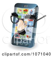 Clipart 3d Disguise Glasses On A Cell Phone Royalty Free Vector Illustration by AtStockIllustration