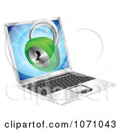 Clipart 3d Security Padlock Emerging From A Laptop Computer Royalty Free Vector Illustration