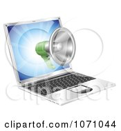 Clipart 3d Megaphone Emerging From A Laptop Royalty Free Vector Illustration