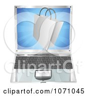 Clipart 3d Shopping Bag Over A Laptop Royalty Free Vector Illustration by AtStockIllustration