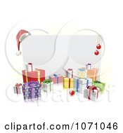 Clipart 3d Christmas Sign With A Santa Hat Baubles And Gifts Royalty Free Vector Illustration