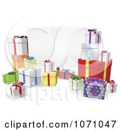 Clipart 3d Gifts Around A Blank Sign Royalty Free Vector Illustration