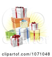 Clipart 3d Birthday Or Christmas Gifts And Rays Royalty Free Vector Illustration