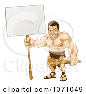 Clipart Strong Caveman Holding A Sign Royalty Free Vector Illustration by AtStockIllustration