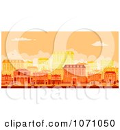 Urban Avenue With Townhouses At Sunset