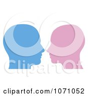Clipart Male And Female Face Profiles Facing Each Other Royalty Free Vector Illustration by AtStockIllustration