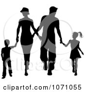Clipart Silhouetted Family Of Four Holding Hands And Walking Royalty Free Vector Illustration