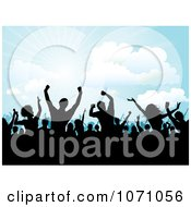 Clipart Silhouetted Fans Dancing At An Outdoor Concert Royalty Free Vector Illustration