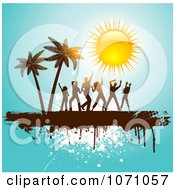 Clipart People Dancing By Palm Trees Under A Shiny Sun On Blue Grunge Royalty Free Vector Illustration