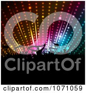 Clipart Silhouetted Fan Crowd Holding Banners And Flags Under Disco Lights Royalty Free Vector Illustration