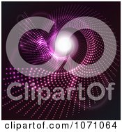Clipart Purple Halftone Spiral Vortex With Bright Light At The End Of The Tunnel Royalty Free Vector Illustration by KJ Pargeter