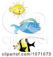 Unicorn Tang Moorish Idol And Puffer Fish