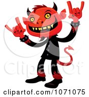 Clipart Heavy Metal Devil Rocking Out And Gesturing The Sign Of The Horns - Royalty Free Vector Illustration by John Schwegel