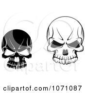 Clipart Black And White Evil Skulls Royalty Free Vector Illustration