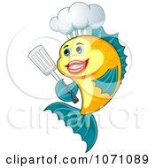 Happy Chef Fish Holding A Spatula