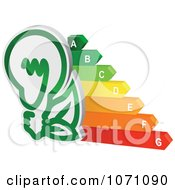 Clipart 3d Green Light Bulb And Energy Chart Royalty Free Vector Illustration