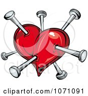 Clipart Heart Stapped With Nails Royalty Free Vector Illustration