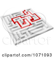 Clipart 3d Maze With Red Arrow Paths 4 Royalty Free Vector Illustration by Vector Tradition SM