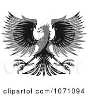 Clipart Black And White Heraldic Eagle Royalty Free Vector Illustration