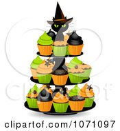 Clipart 3d Black Witch Cat On A Halloween Cupcake Stand Royalty Free Vector Illustration