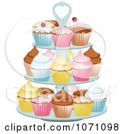 Clipart 3d Stand With Colorful Cupcakes Royalty Free Vector Illustration