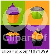 Clipart 3d Halloween Cupcakes On Colorful Tiles Royalty Free Vector Illustration