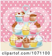 Clipart 3d Stand With Cupcakes Against Pink And White Polka Dots Royalty Free Vector Illustration by elaineitalia