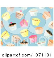 Clipart Seamless Cupcake Pattern On Blue Background Royalty Free Vector Illustration