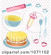Clipart 3d Baking Utensils And A Cake On Pink Polka Dots Royalty Free Vector Illustration