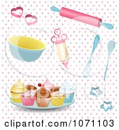 Clipart 3d Baking Utensils And Cupcakes On Pink Polka Dots Royalty Free Vector Illustration