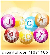 Clipart 3d Jackpot Lottery Balls And Flares On Orange Royalty Free Vector Illustration