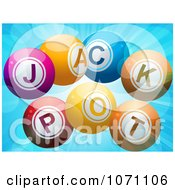 Clipart 3d Jackpot Lottery Balls And Flares On Blue Royalty Free Vector Illustration