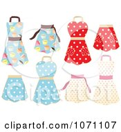 Clipart Retro Cupcake And Polka Dot Aprons Royalty Free Vector Illustration