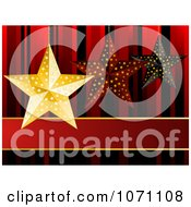 Clipart 3d Gold Red And Black Christmas Star Ornaments Over Red Royalty Free Vector Illustration