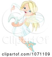 Clipart Cute Blond Fairy Hugging A Tooth Royalty Free Vector Illustration
