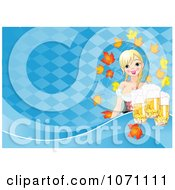 Clipart Oktoberfest Beer Maiden With Pints And Autumn Leaves Over Blue Diamonds Royalty Free Vector Illustration