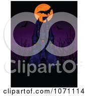 Clipart Full Moon And Vampire Bats Over A Haunted Castle Royalty Free Vector Illustration
