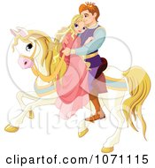 Clipart Fairy Tale Prince And Princess Cuddling On A Horse Royalty Free Vector Illustration by Pushkin