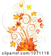 Clipart Autumn Swirl And Fall Leaf Flourish Royalty Free Vector Illustration