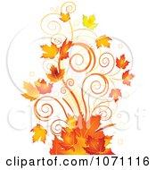 Clipart Autumn Swirl And Fall Leaf Flourish Royalty Free Vector Illustration