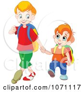 Clipart Boy Walking His Little Brother To Preschool Royalty Free Vector Illustration by Pushkin