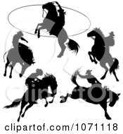 Clipart Rodeo Cowboy And Horse Silhouettes Royalty Free Vector Illustration