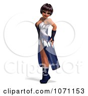 Clipart 3d Female Agent In Blue 3 Royalty Free CGI Illustration