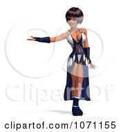 Clipart 3d Female Agent In Blue 2 Royalty Free CGI Illustration