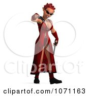Clipart 3d Female Agent In Red Holding Two Revolvers 2 Royalty Free CGI Illustration by Ralf61