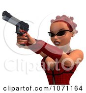 Clipart 3d Female Agent In Red Shooting A Pistol Royalty Free CGI Illustration by Ralf61