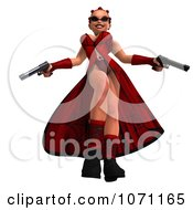 Clipart 3d Female Agent In Red Holding Two Revolvers 3 Royalty Free CGI Illustration by Ralf61