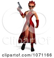 Clipart 3d Female Agent In Red Holding A Pistol Royalty Free CGI Illustration by Ralf61