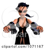 Clipart 3d Female Agent Holding Two Revolvers 4 Royalty Free CGI Illustration by Ralf61