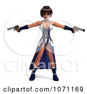 Clipart 3d Female Agent In Blue Holding Two Revolvers Royalty Free CGI Illustration by Ralf61